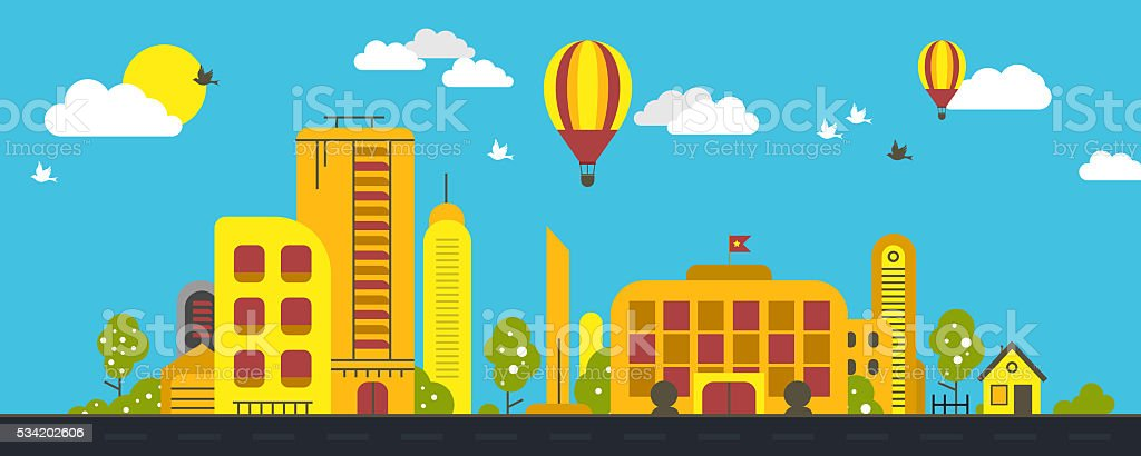 City Real Estate Summer Background stock photo