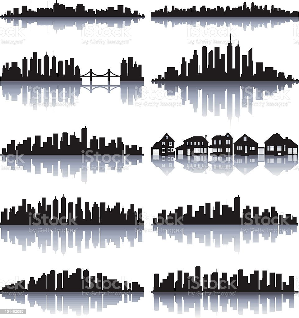 City reflection vector art illustration