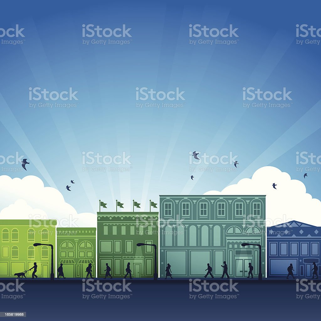 City Shopping District vector art illustration