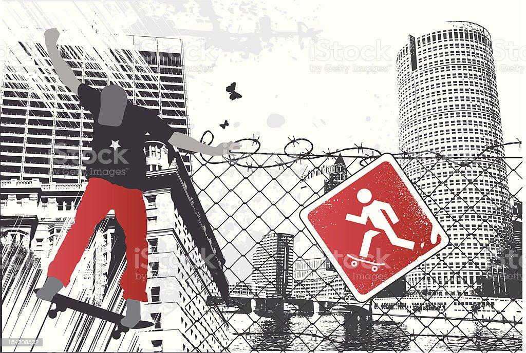 City Skater Sign royalty-free stock vector art