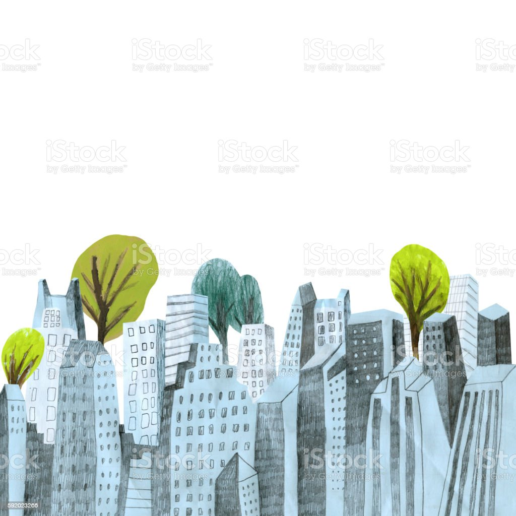 City skyline with trees on white background vector art illustration