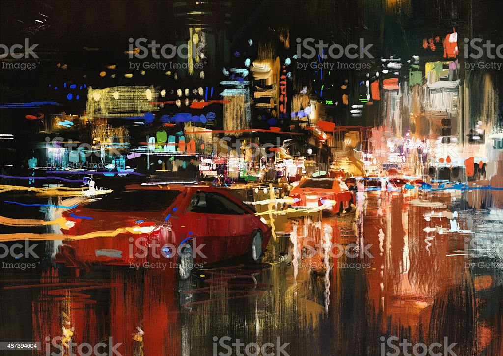 city street at night with colorful lights vector art illustration