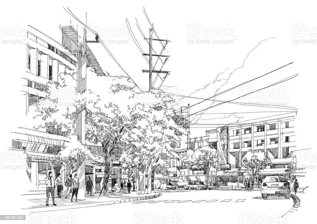 city street sketch vector art illustration