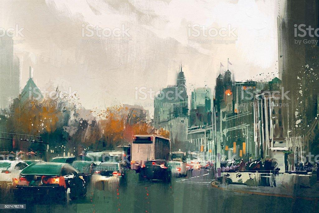 city street view with traffic,Shanghai The Bund vector art illustration