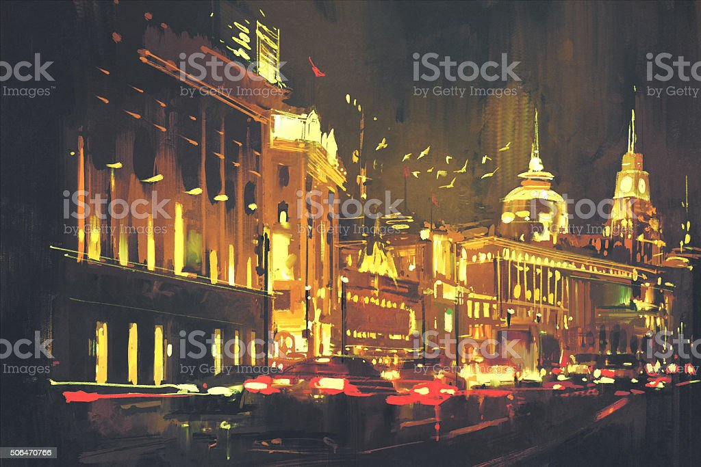city street with colorful light vector art illustration