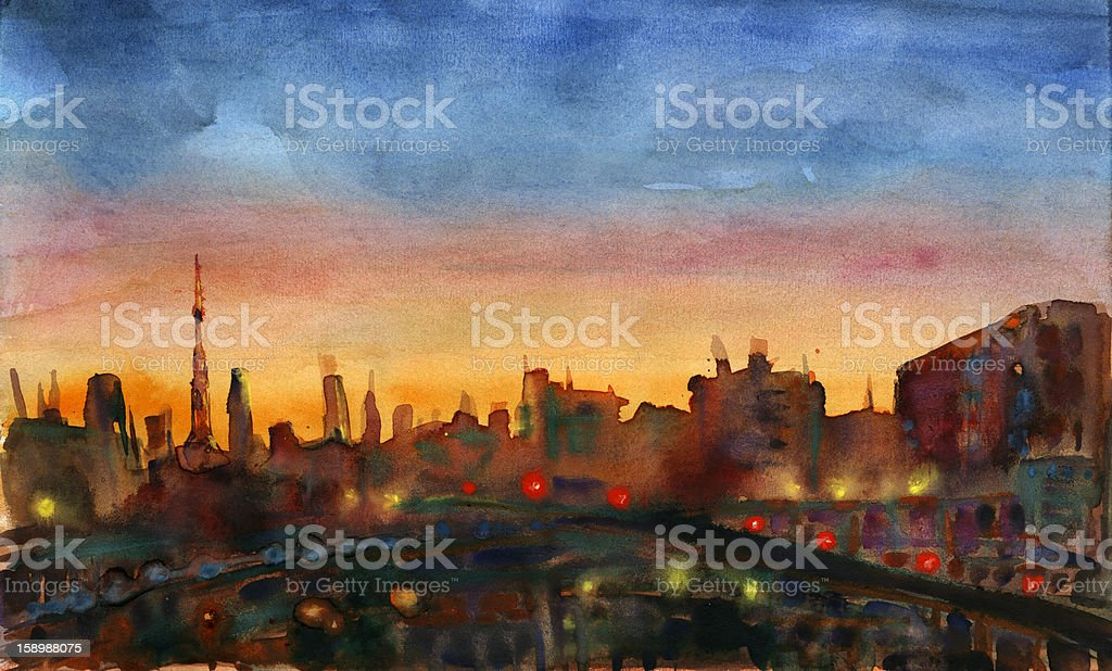 City sunset royalty-free stock vector art