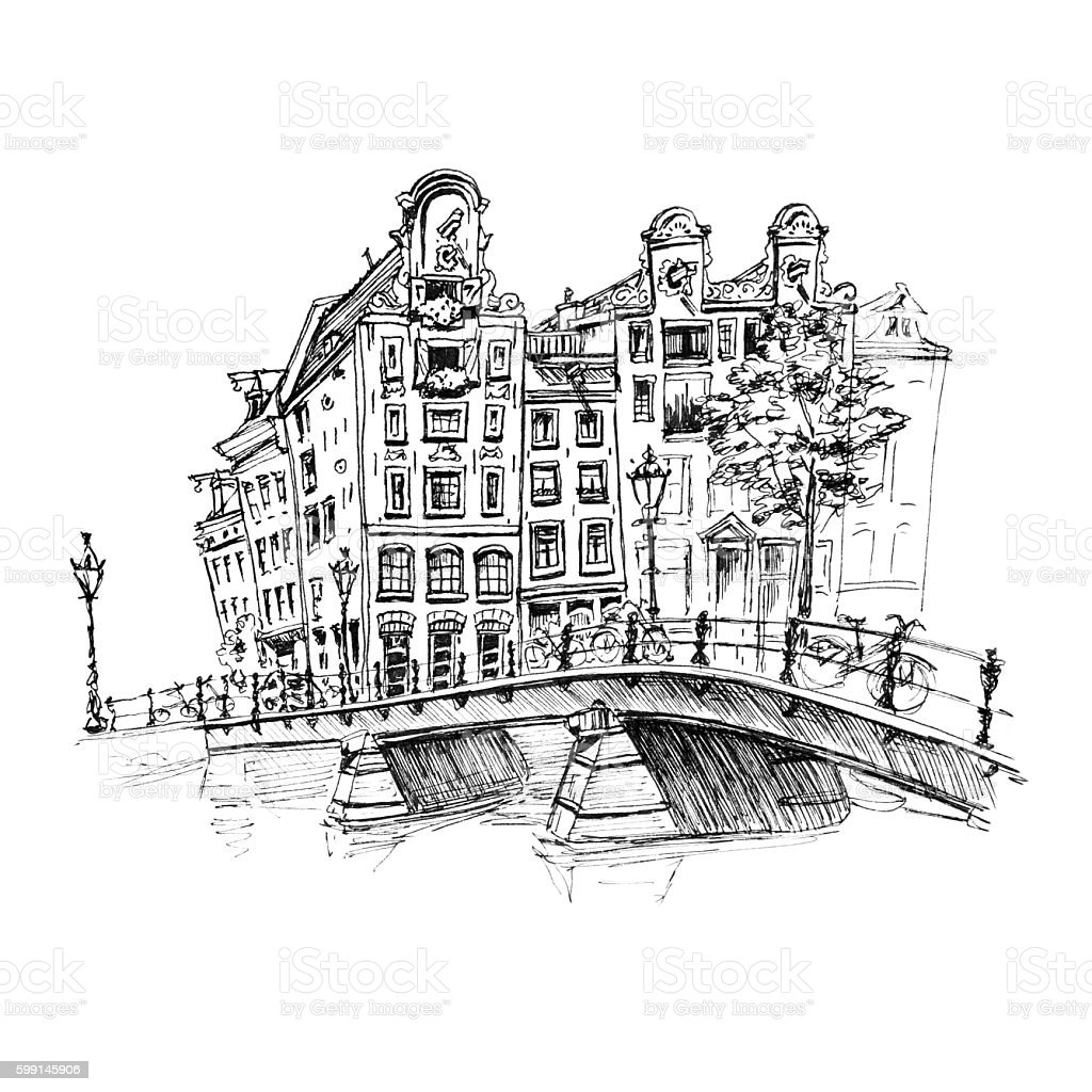 City view of Amsterdam canal and brifge vector art illustration