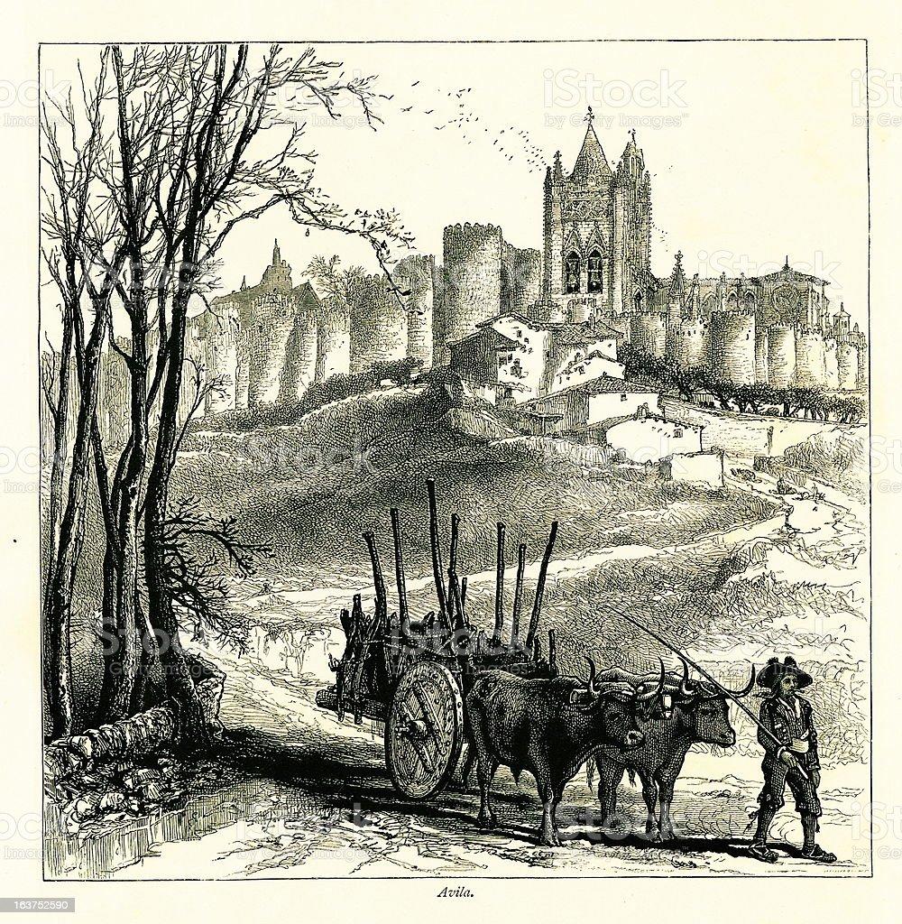 City walls of Avila, Spain I Antique European Illustrations vector art illustration