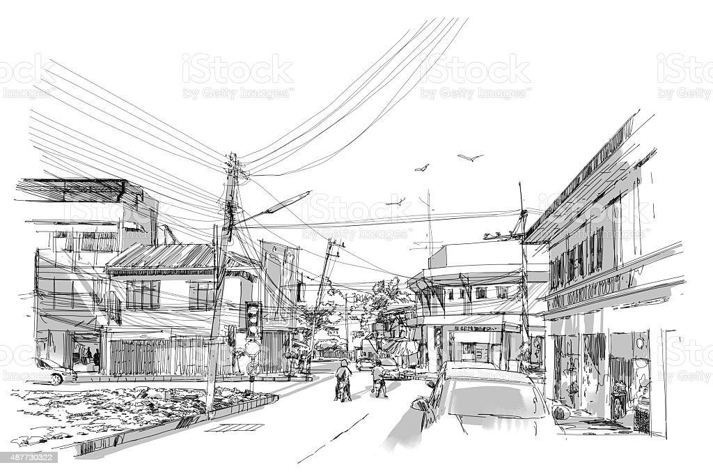 cityscape drawing vector art illustration