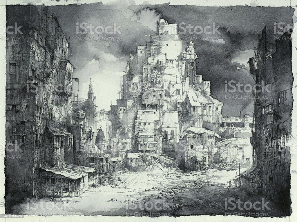 Cityscape sketch vector art illustration