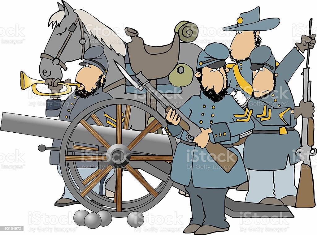 Civil War soldiers and cannon royalty-free stock vector art