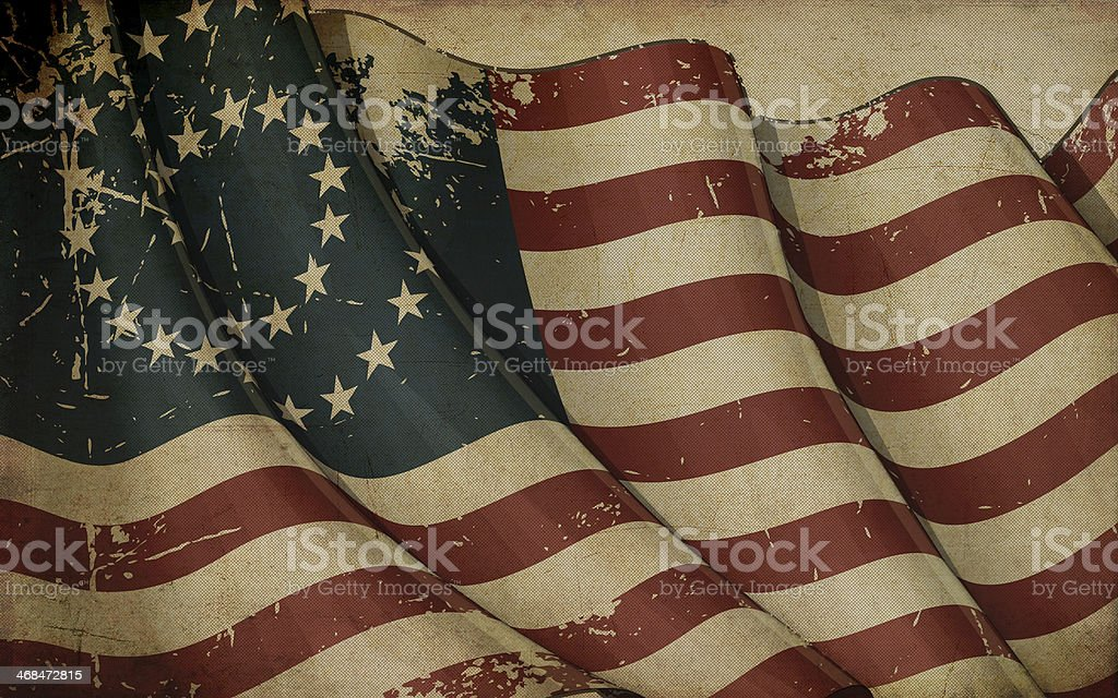 US Civil War Union Flag (37 Star Medallion) Old Paper royalty-free stock vector art