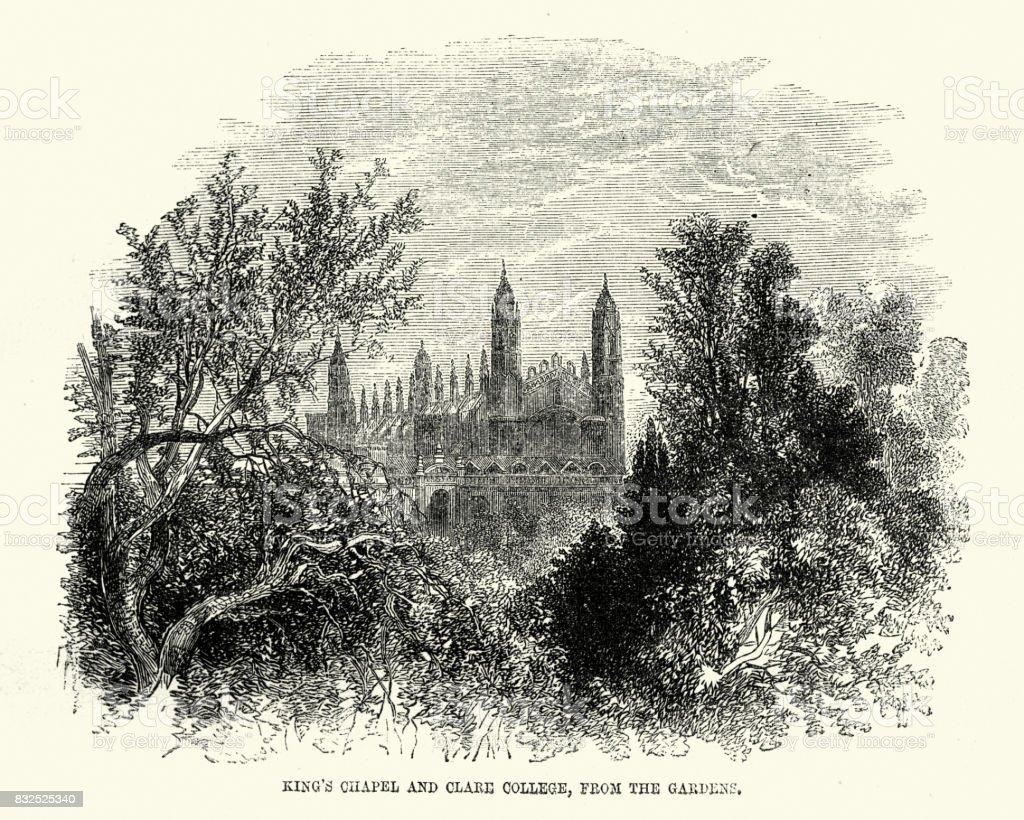 Clare College, Cambridge, 19th Century vector art illustration