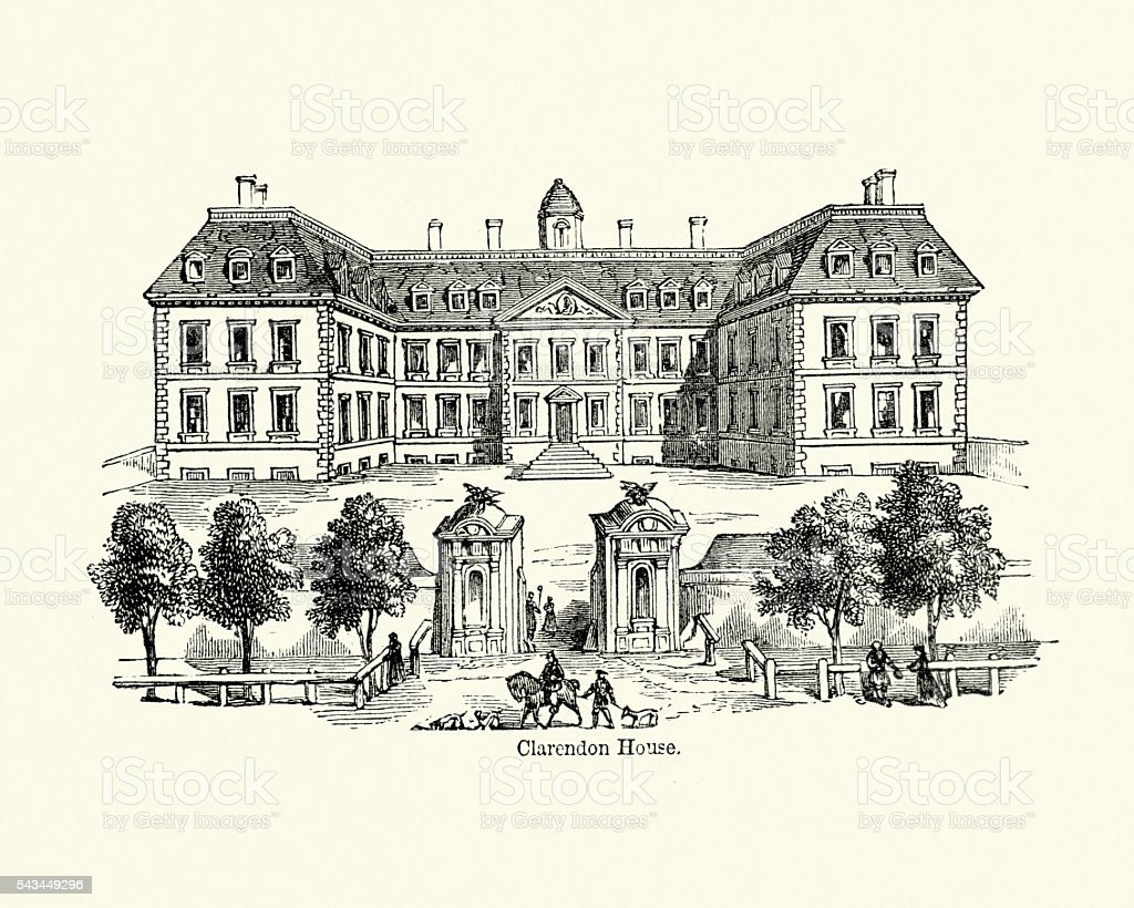 Clarendon House, London in the 17th Century vector art illustration