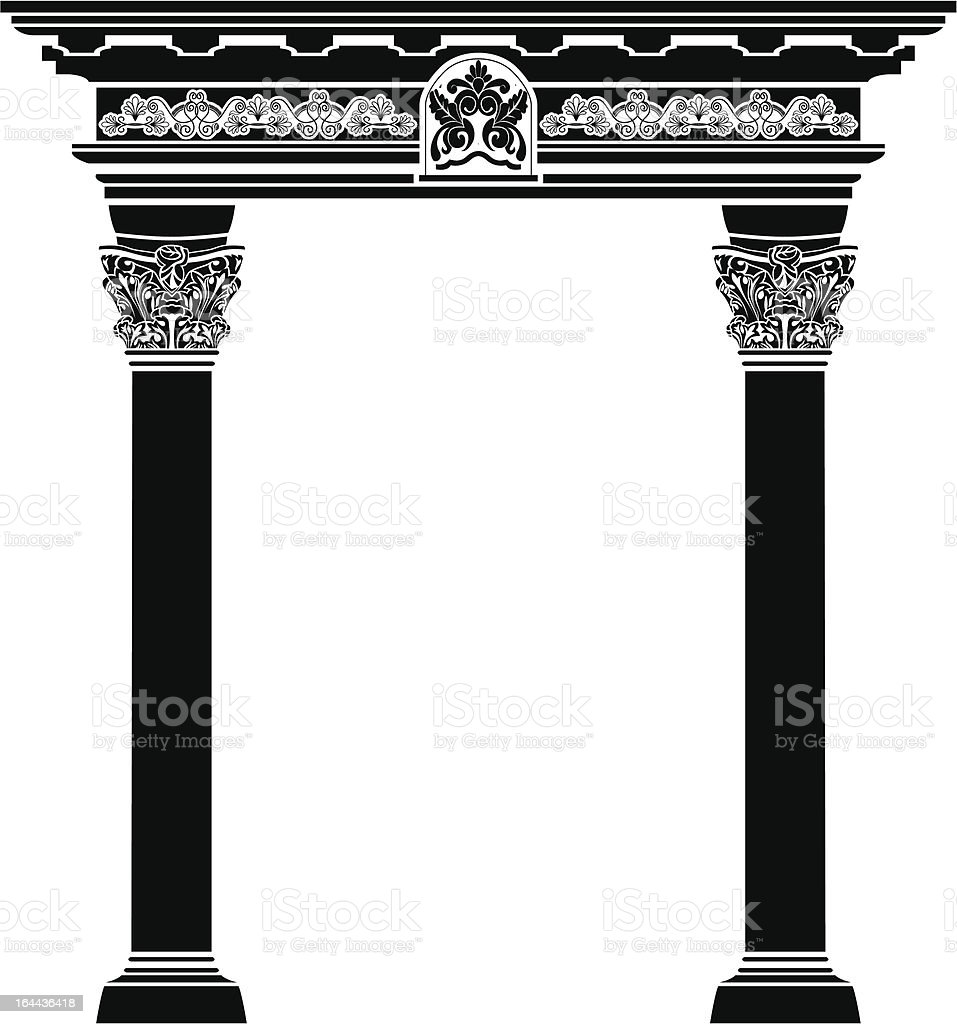 Classic arch with fiigree column and pattern vector art illustration