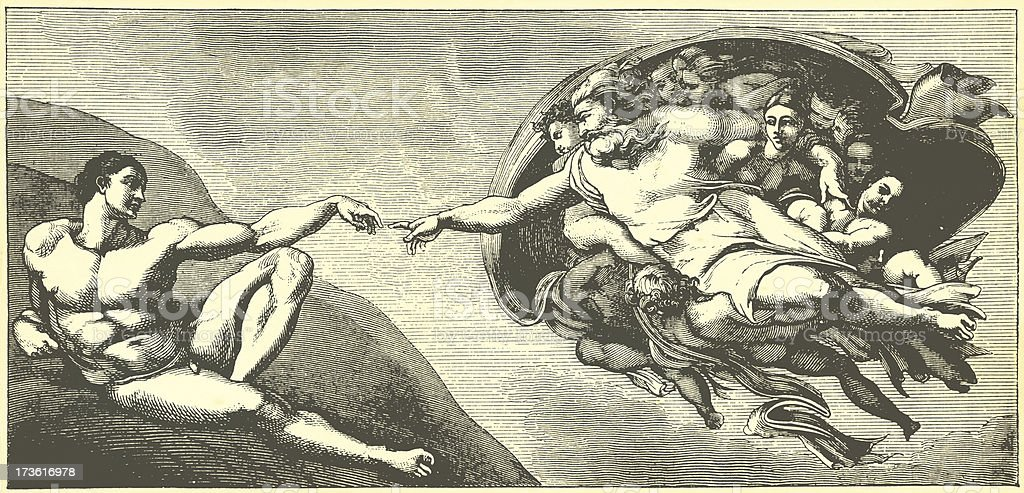 Classic Art Images | Creation by Michelangelo vector art illustration