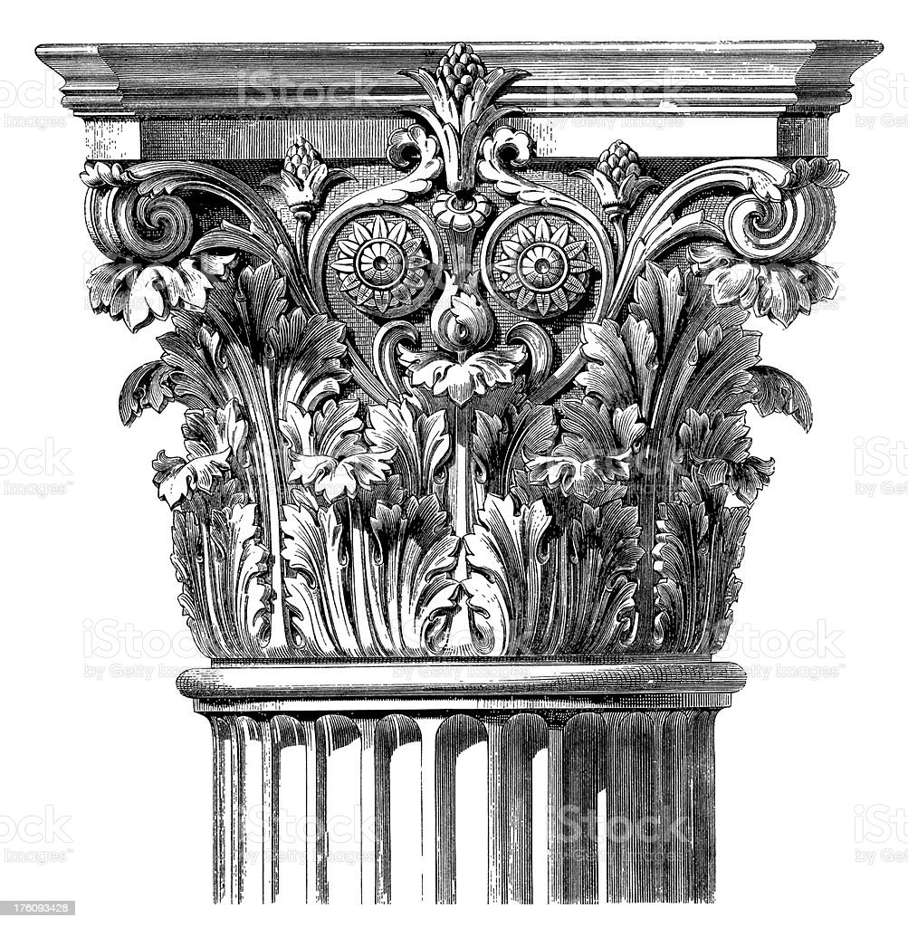 Classic Capital | Antique Architecture Illustrations vector art illustration