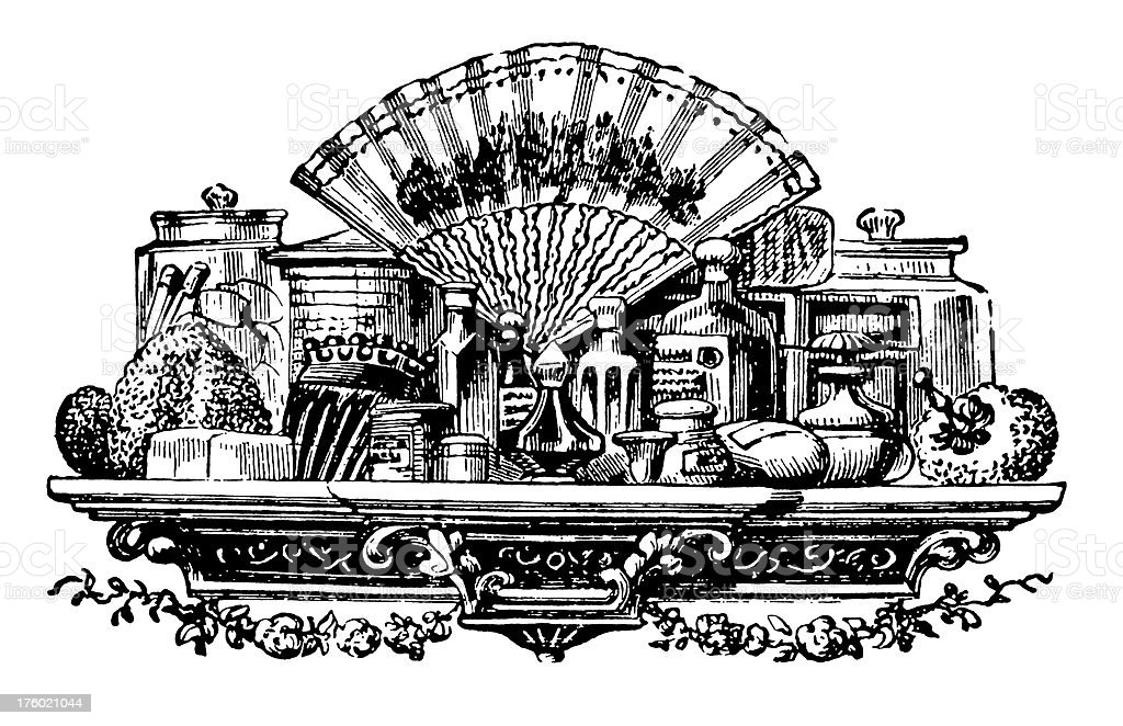 Classic Cosmetic Table I Antique Design Illustrations vector art illustration