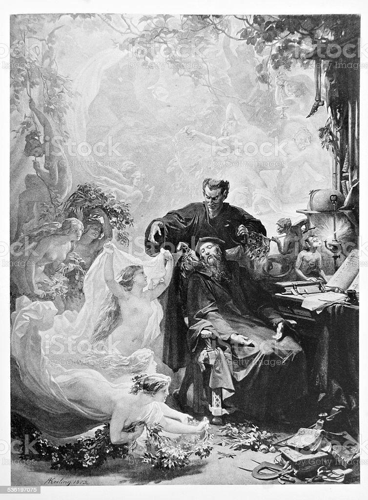 Classic illustration: Devil Mephisto is enchanting Faust vector art illustration