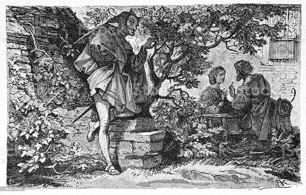Classic illustration from Faust vector art illustration