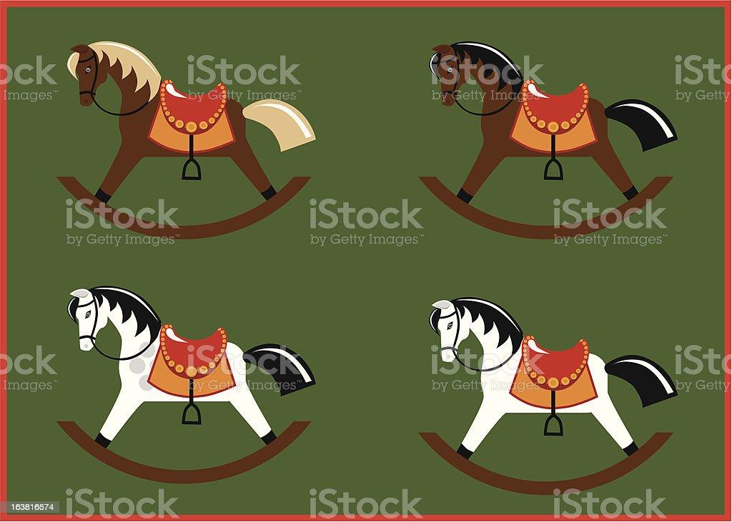 Classic rocking horses vector art illustration