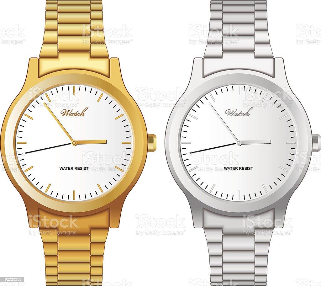 Classic wristwatch vector art illustration