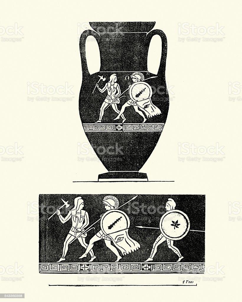 Classical ancient greek urn vector art illustration