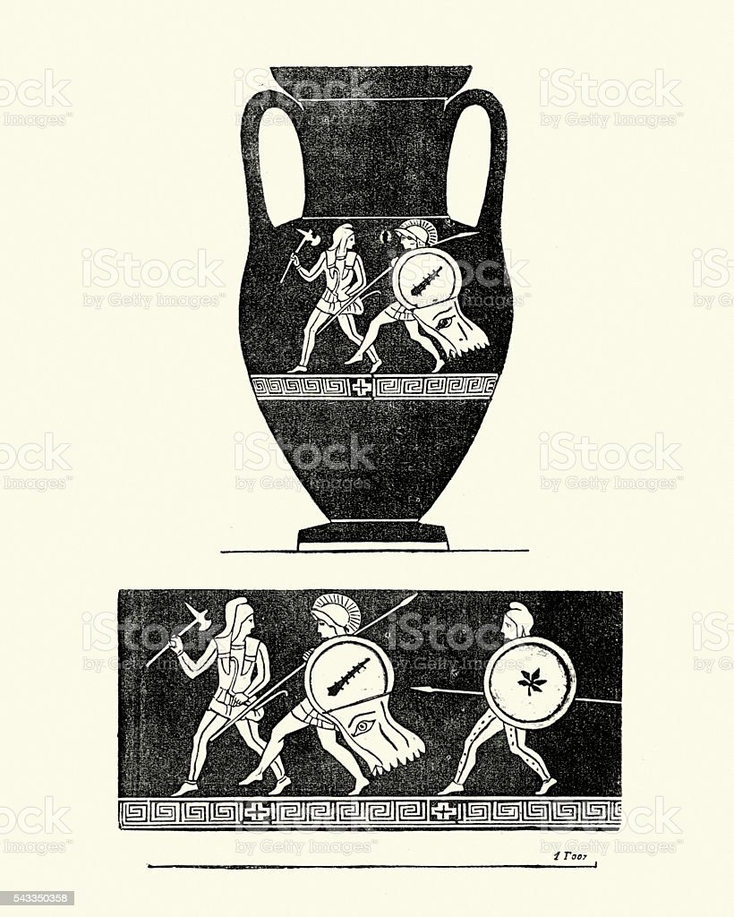 Classical ancient greek urn vector art illustration