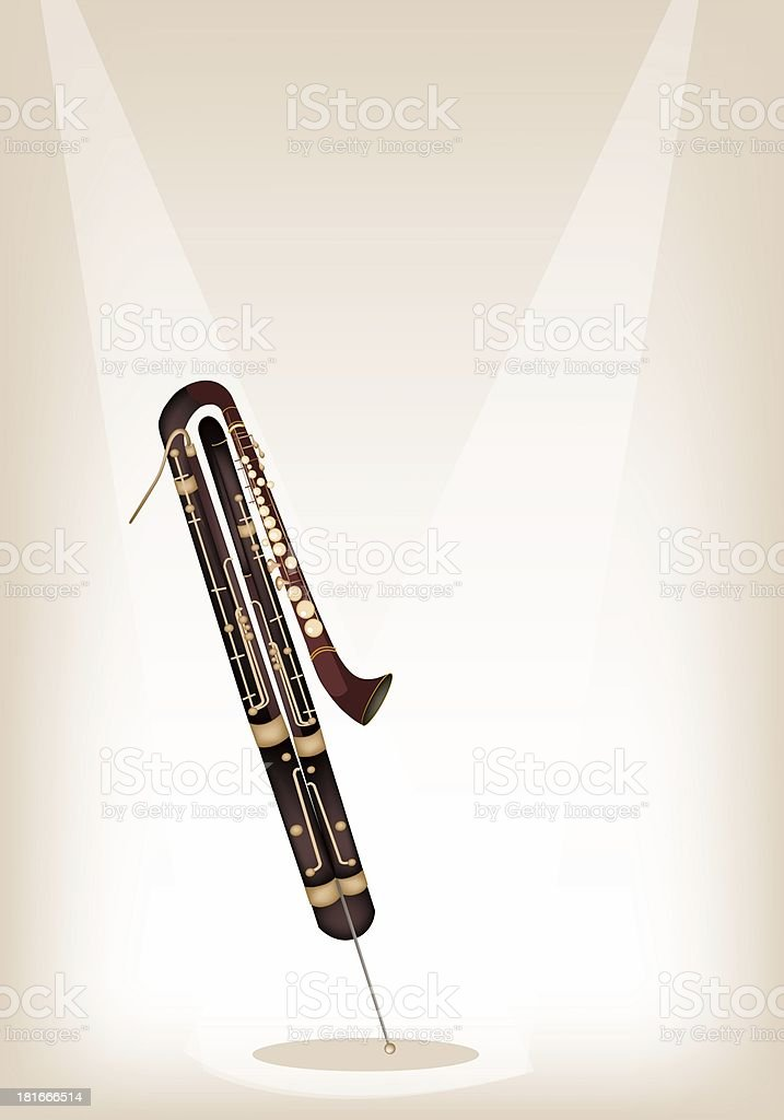 Classical Contrabassoon on Brown Stage Background royalty-free stock vector art