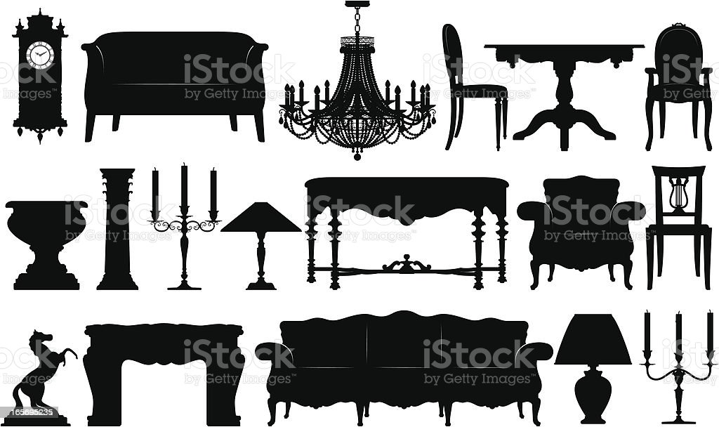 Classical Furniture Silhouettes royalty-free stock vector art