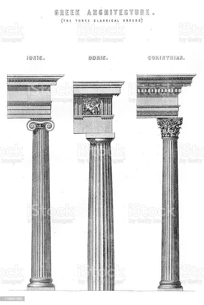 Classical Greek Architecture Columns vector art illustration
