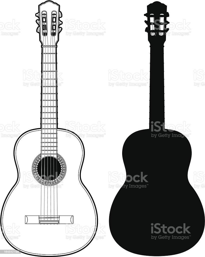 Classical Guitar vector art illustration