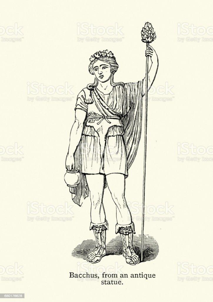 Classical Mythology - Bacchus or Dionysus vector art illustration