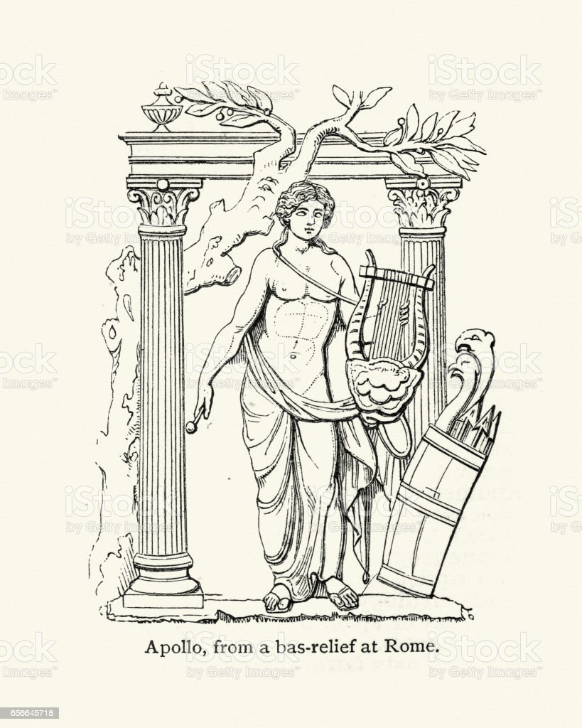 Classical Mythology - The God Apollo vector art illustration