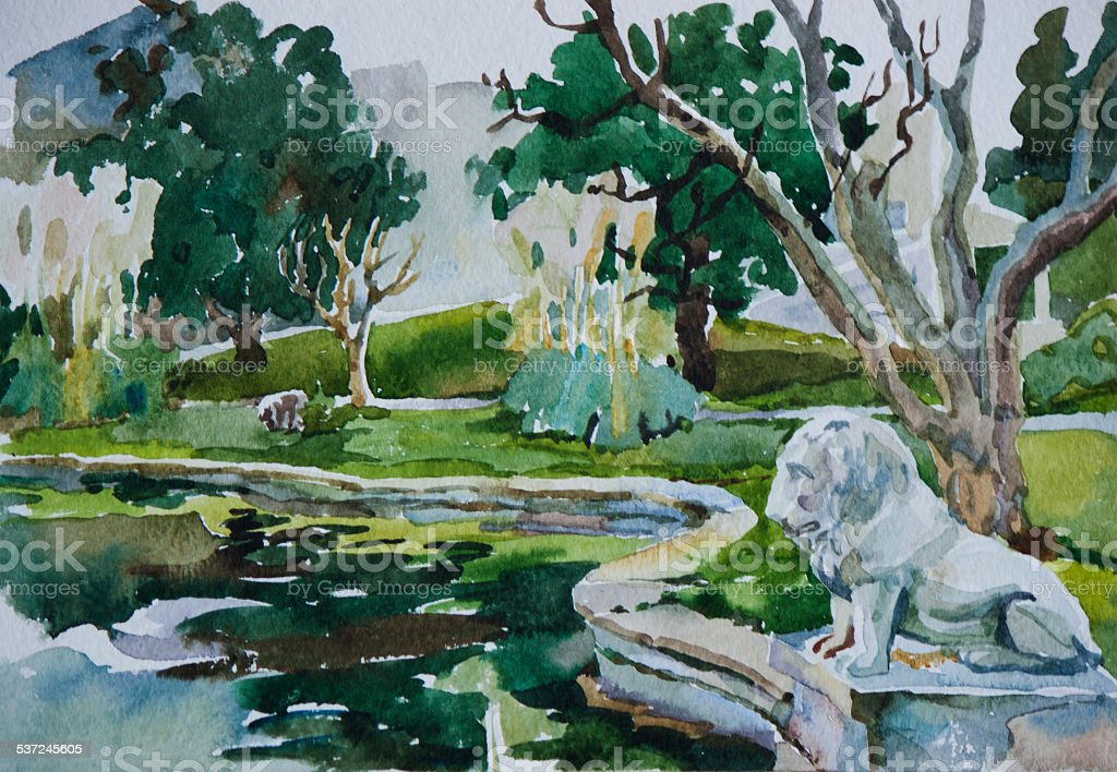 Classical park with pond and lion watercolor art vector art illustration