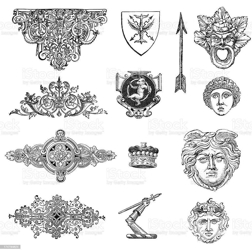 Classical Retro Design Elements royalty-free stock vector art