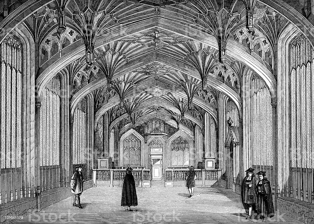 Classroom at Oxford University, circa 14th Century vector art illustration