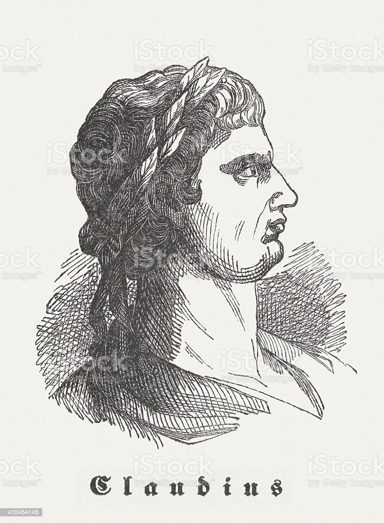 Claudius (10 BC-AD 54), Roman emperor, wood engraving, published 1864 vector art illustration