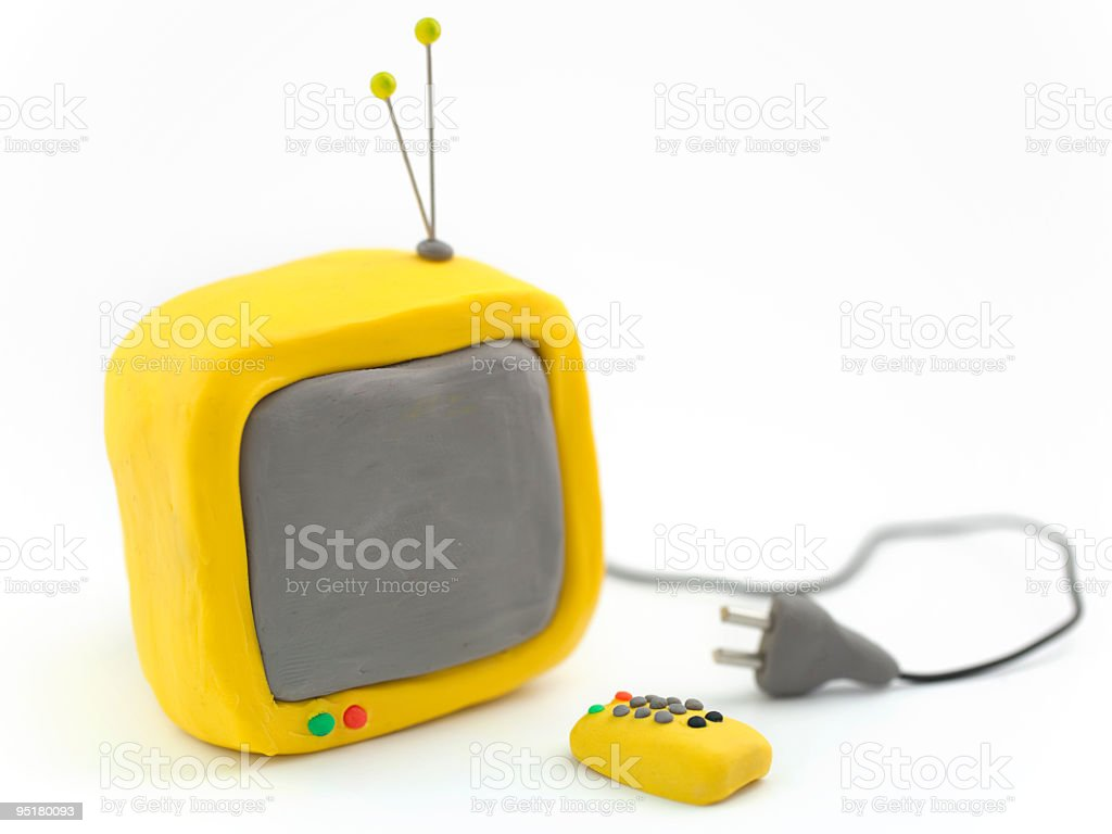 Clay TV with remote control and plug vector art illustration