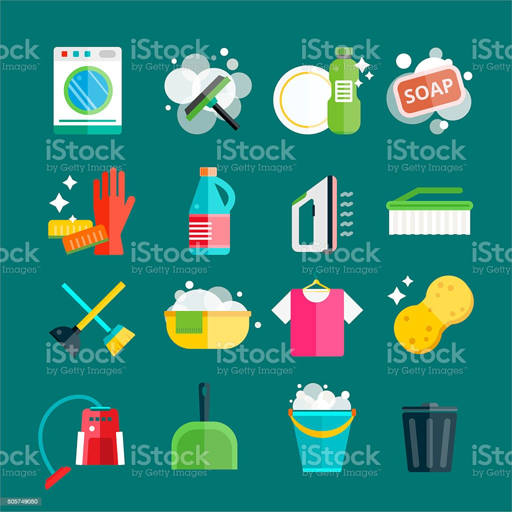 Cleaning icons set clean service vector art illustration