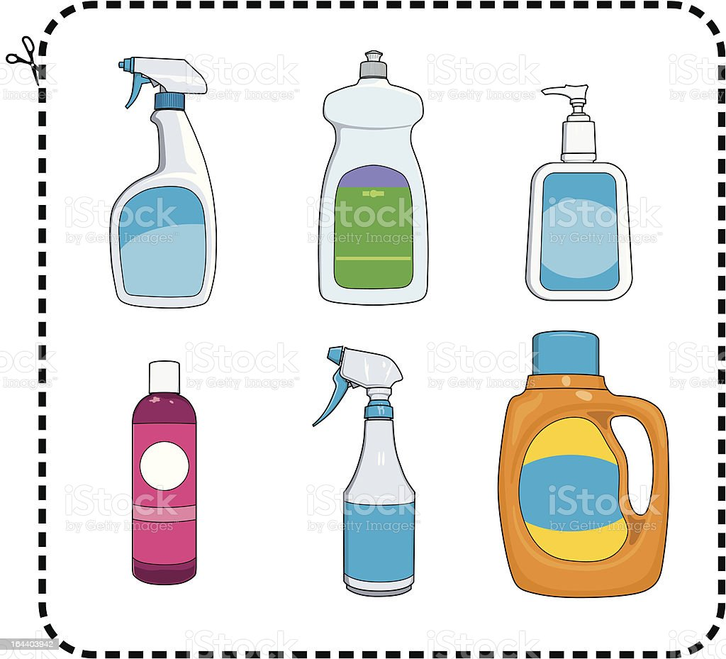 Cleaning Supplies vector art illustration