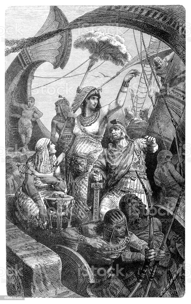Cleopatra during the battle of Actium, 31 BC vector art illustration