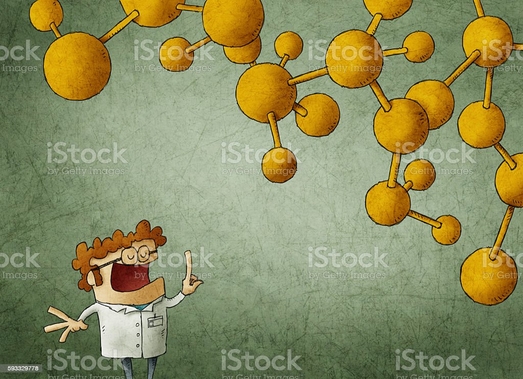 Clever scientist with finger up and nuclear chain above vector art illustration