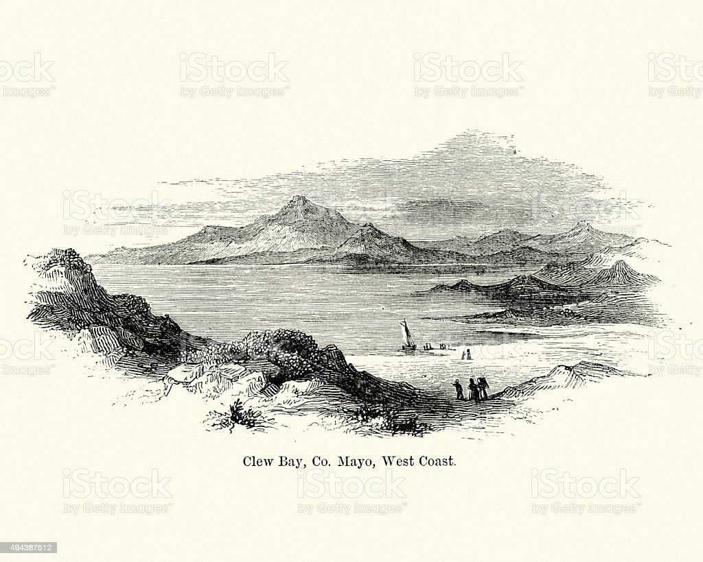 Clew Bay in County Mayo, Ireland vector art illustration