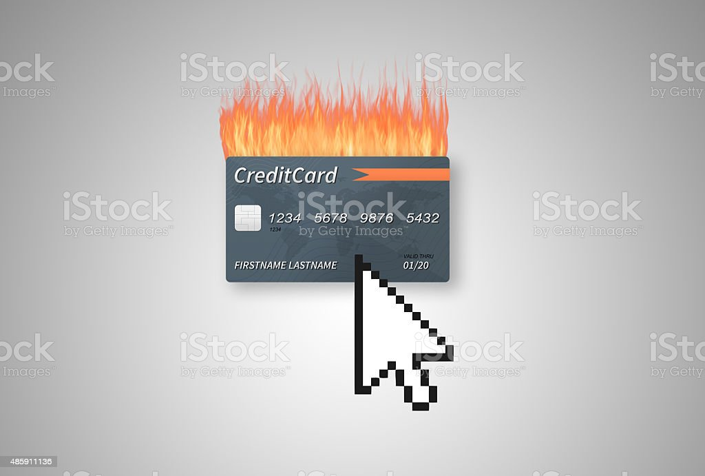 Clicking on a gray burning credit card on gradient background vector art illustration