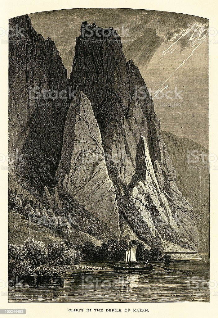 Cliffs in the defile of Kazan, Danube River, wood engraving royalty-free stock vector art