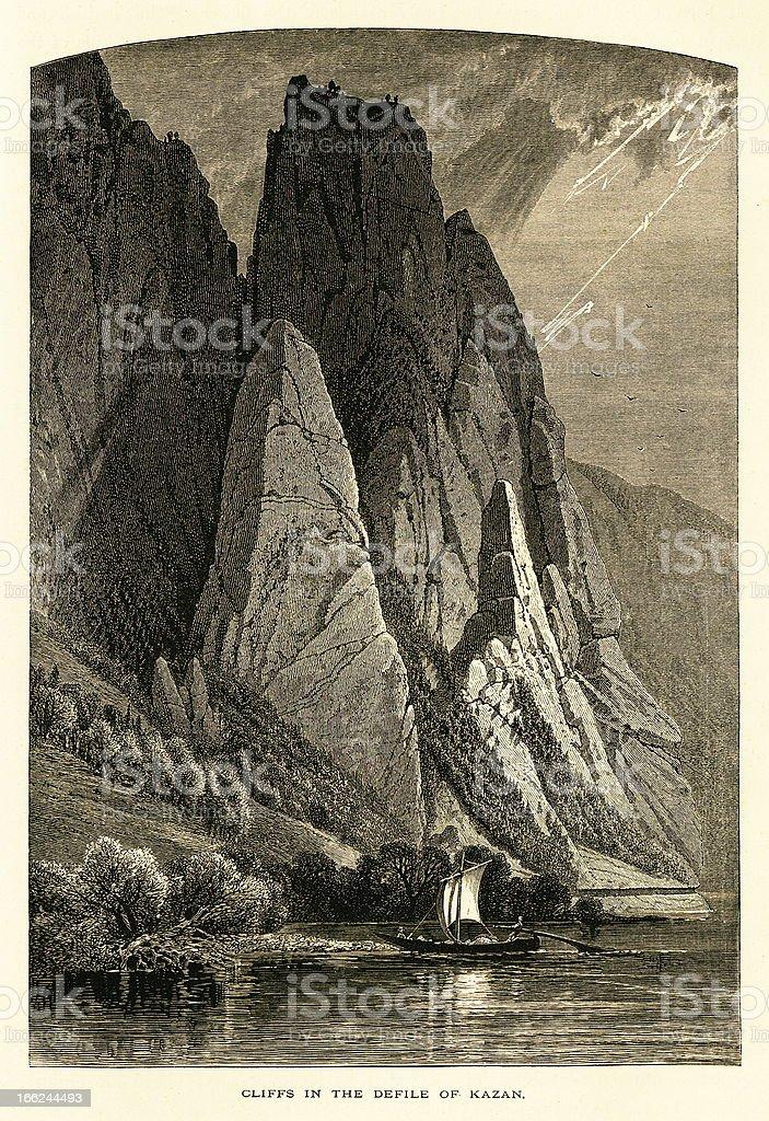 Cliffs in the defile of Kazan, Danube River, wood engraving vector art illustration