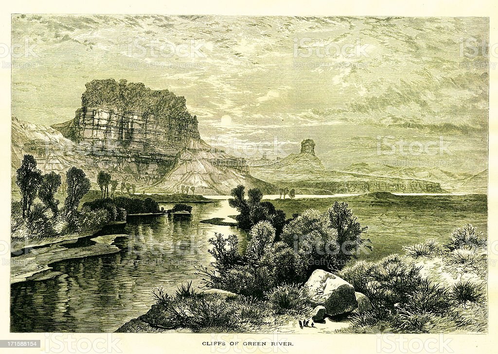 Cliffs of the Green River, USA | Historic American Illustrations royalty-free stock vector art