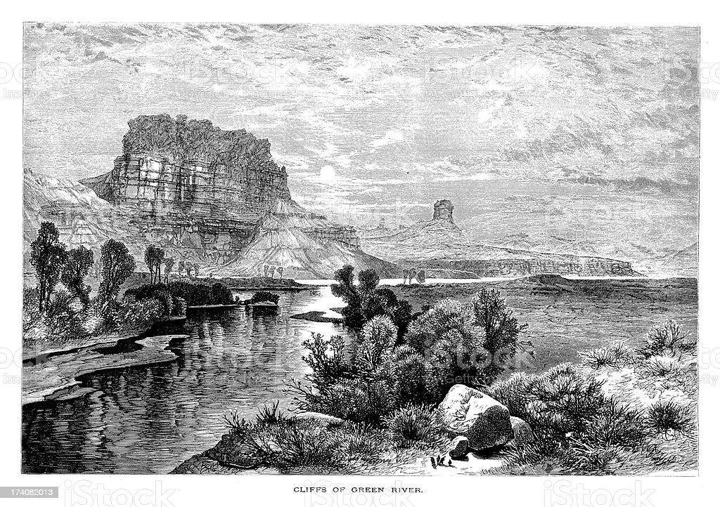 Cliffs of the Green River, USA | Historic American Illustrations vector art illustration