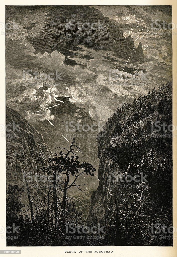 Cliffs of the Jungfrau, Switzerland (antique wood engraving) royalty-free stock vector art